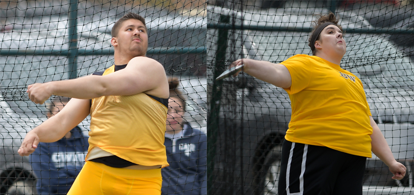 Sophomore All-OAC throwers Ted Achladis and Jillian Roberts (Photos courtesy of Jesse Kucewicz)