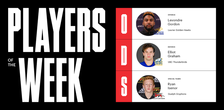 Football players of the Week: Gordon, Graham, Isenor honoured