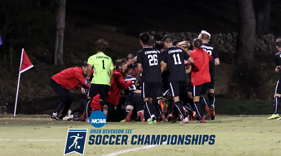The men's soccer team celebrates after advancing to the SCIAC final on penalty kicks.