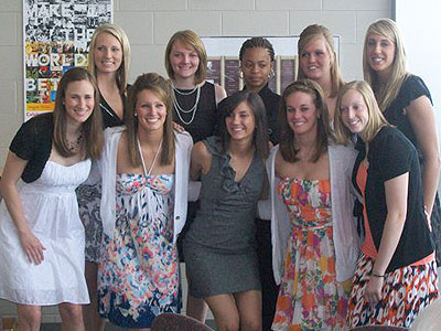 The Bulldog women's basketball team poses for a photo at Sunday's team banquet (Courtesy Photo)