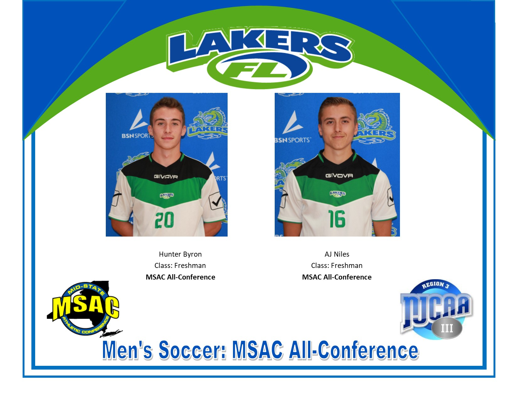 Two Lakers Named to 2019 Men's Soccer MSAC All-Conference Team