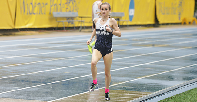 Sarah Hughes runs in the 1,500 meters at the Mideast Invitational hosted by Widener University. Photo courtesy of Eastern University Athletic Communications.