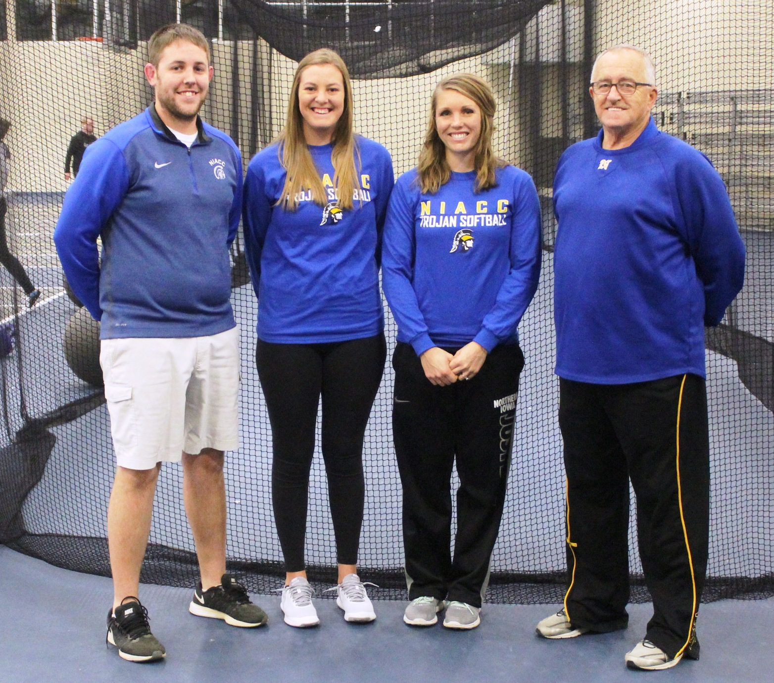 NIACC softball coaches from left: head coach Dan Gratz and assistant coaches Halie Greenwood, Jamie Kruger and Bob Horner.