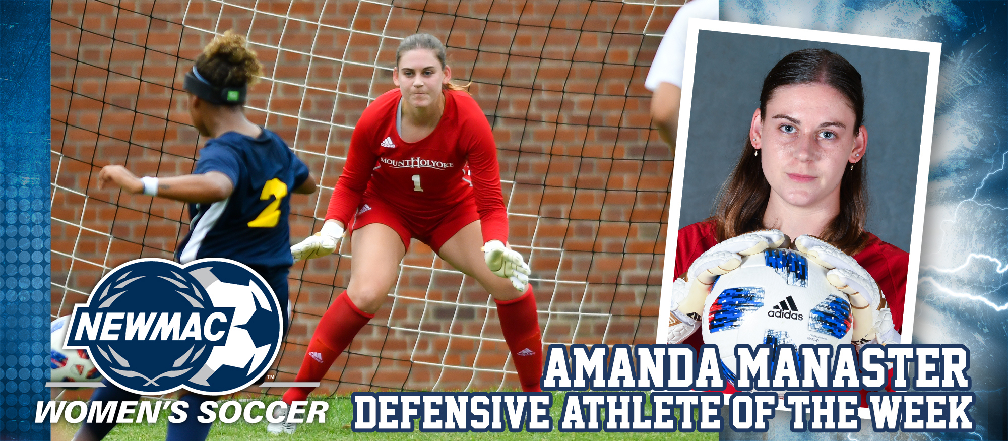 Photo showing Lyons soccer senior goalie Amanda Manaster, who was named the NEWMAC Defensive Athlete of the Week on September 4, 2018