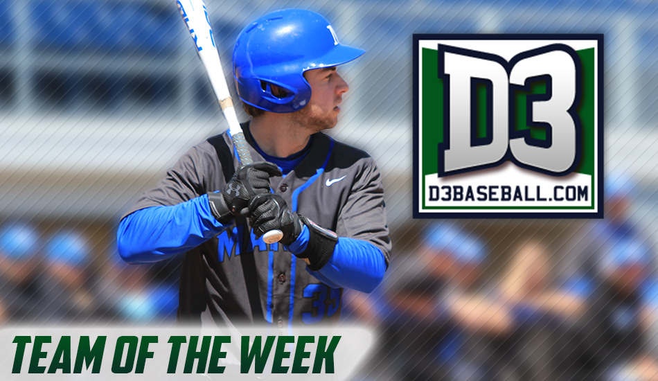 Matt Nordlund selected to D3Baseball.com Team of the Week graphic.