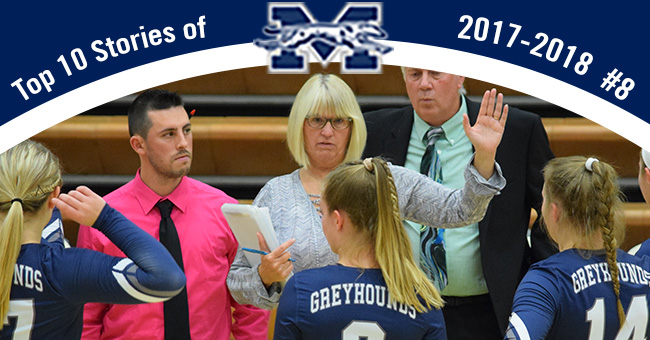 No. 8 on the Top 10 Stories of 2017-18 is Head Coach Shelley Bauder's 500th career victory in her 25th season leading the volleyball program.
