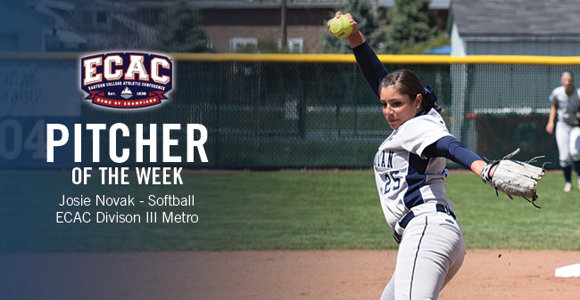 Novak Named ECAC Division III Metro Softball Pitcher of the Week