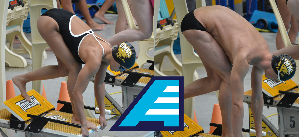 Natalija Marin (L) and Ilia Rattsev have earned America East Female and Male Swimmers of the Week.