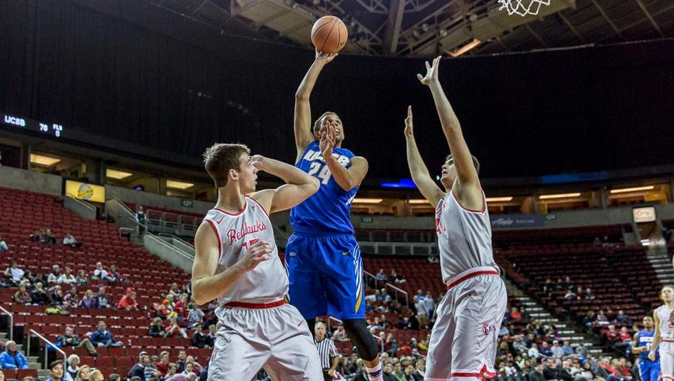 Michael Bryson tied a school record with nine three-point baskets and set another pair of career-highs with 36 points and 13 rebounds in UCSB's 88-50 blowout win at Seattle (Photo by Mike Centioli)