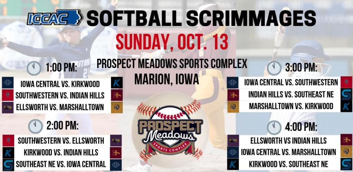 SCHEDULE | 2019 ICCAC Softball Scrimmage Schedule | Sunday, Oct. 13