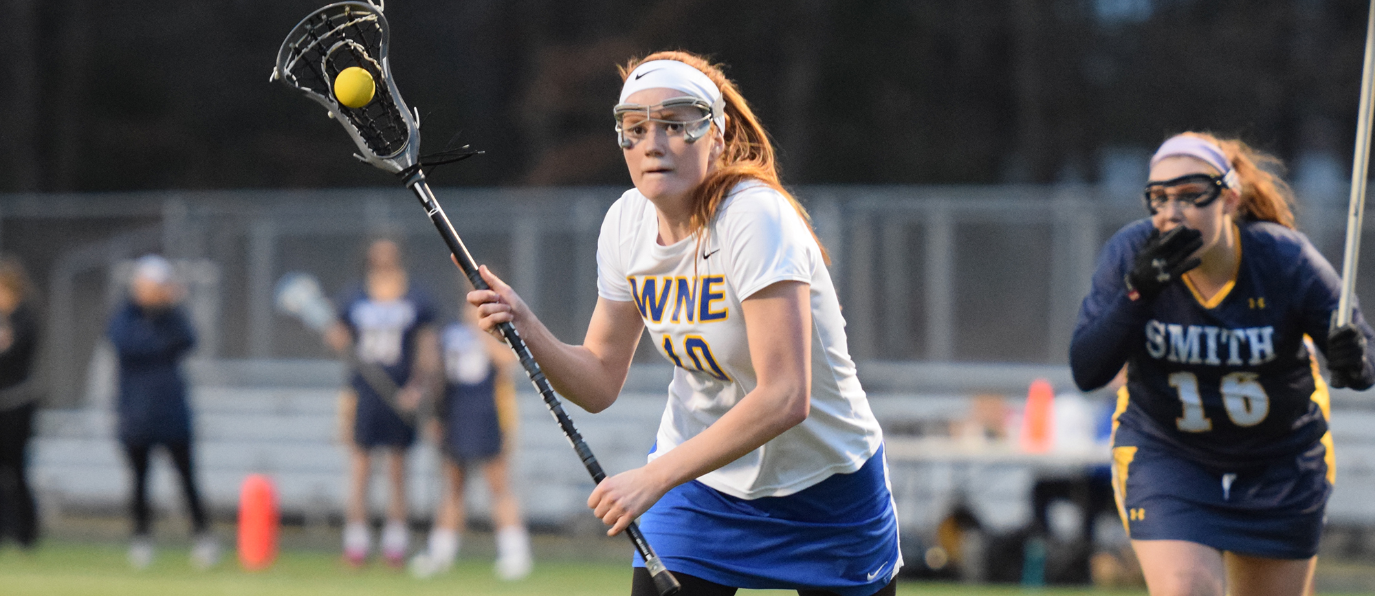 Sophomore Lindsey Phillips totaled five points (4 goals, 1 assist) in Western New England's 12-8 setback at Castleton on Tuesday. (Photo by Rachael Margossian)