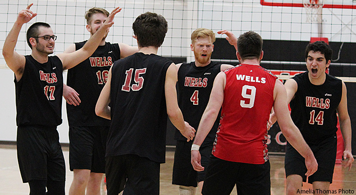 Two More Wins For Wells Men's Volleyball