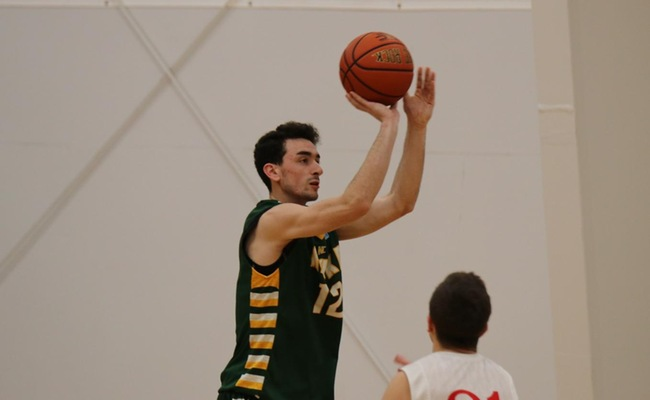 Cliff Stevens (12) scored 18 points and grabbed 12 rebounds for Keuka College