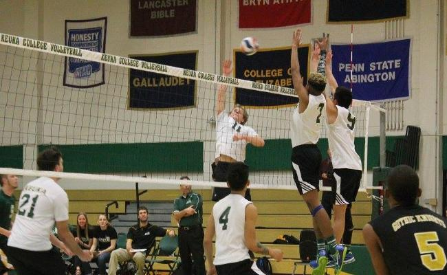 Junior Connor Hinman (No. 11) recorded his fifth double-double in Friday's sweep of New Jersey City to close the season.
