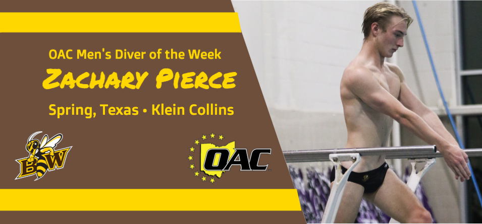 Pierce Garners First Career OAC Men's Diver of the Week Accolade