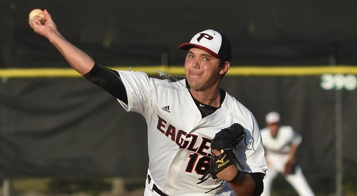 Zak Spivy pitched five scoreless innings as the Eagles shut out South Florida 13-0. (Photo by Tom Hagerty, Polk State.)