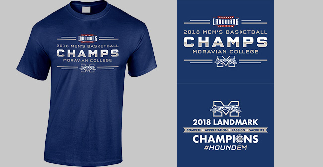 Landmark Conference Championship t-shirt design for men's basketball.