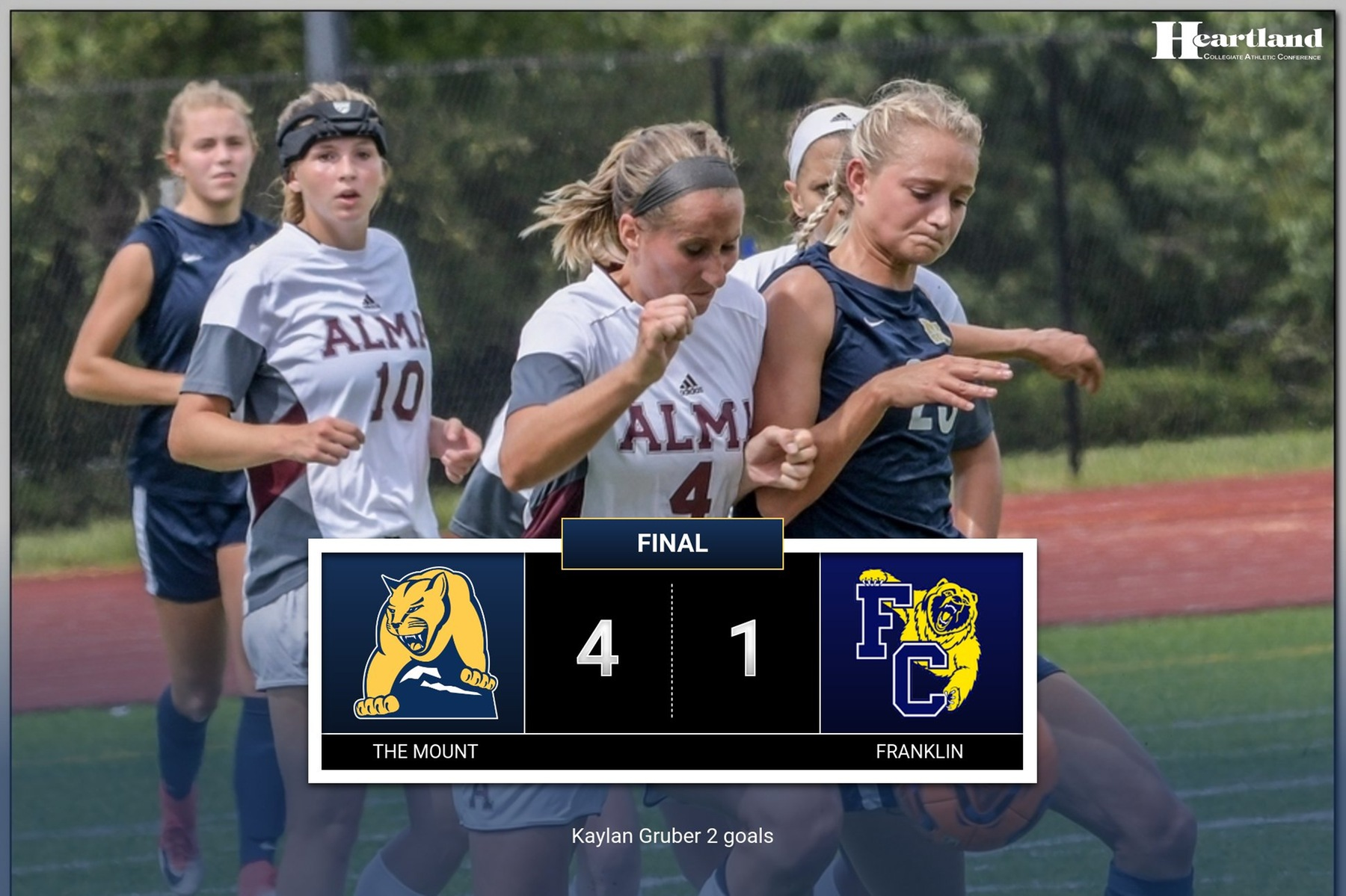 Women's soccer ends regular season with 4-1 win over Franklin, sets stage for HCAC tournament