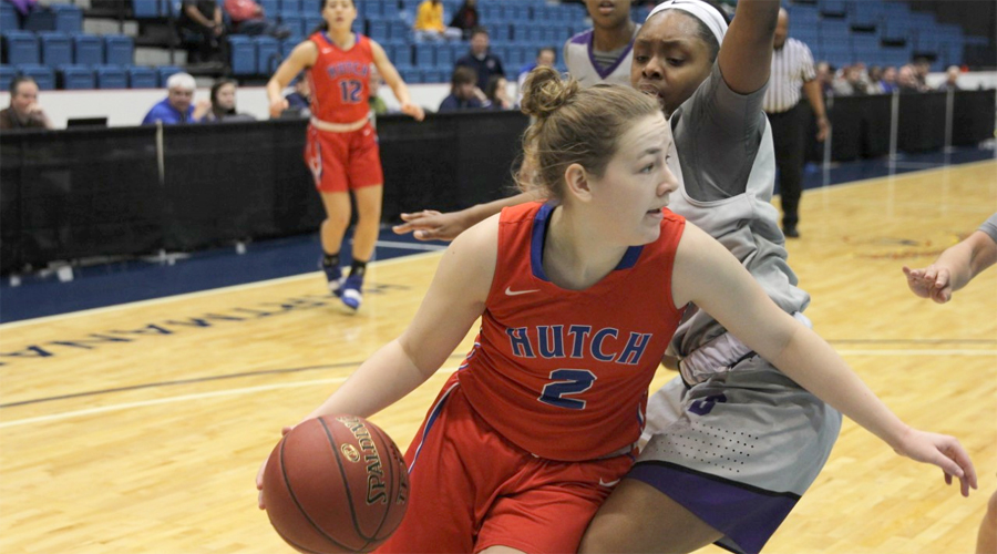 Abby Ogle tires to drive the baseline in the first half of the Blue Dragons' Region VI semifinal against Butler on Monday at Hartman Arena. The Blue Dragons lost 61-60. (Bre Rogers/Blue Dragon Sports Information)