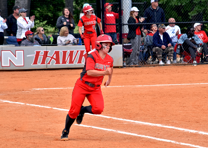 The Huntingdon softball team beat Meredith but fell to Averett in an elimination game on Saturday in the USA South Tournament.