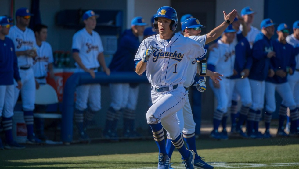 Tommy Jew stole home for the game-winning run in the seventh to lead UCSB past SFA 3-2 on Friday. (Photo by Tony Mastres)
