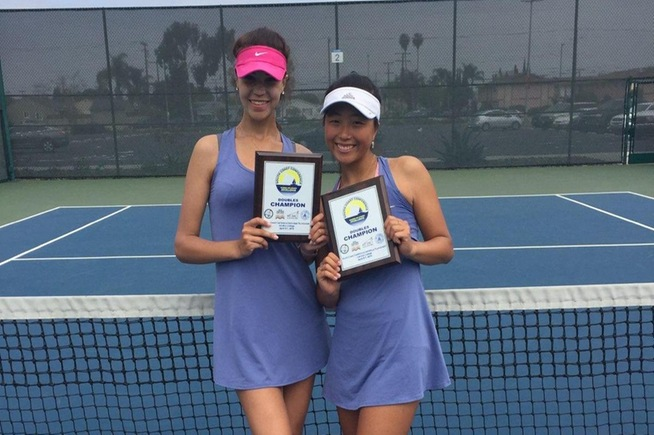 (L-R) Kseniia Prokopchuk and Lisa Suzuki won the South Coast Conference doubles title