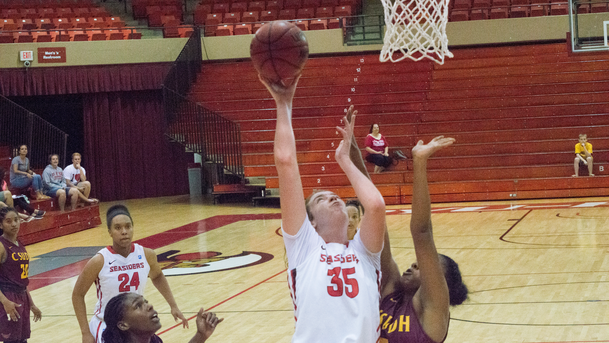 Baldwin recorded her second consecutive double-double with 18 points and 12 rebounds against the Silverswords.