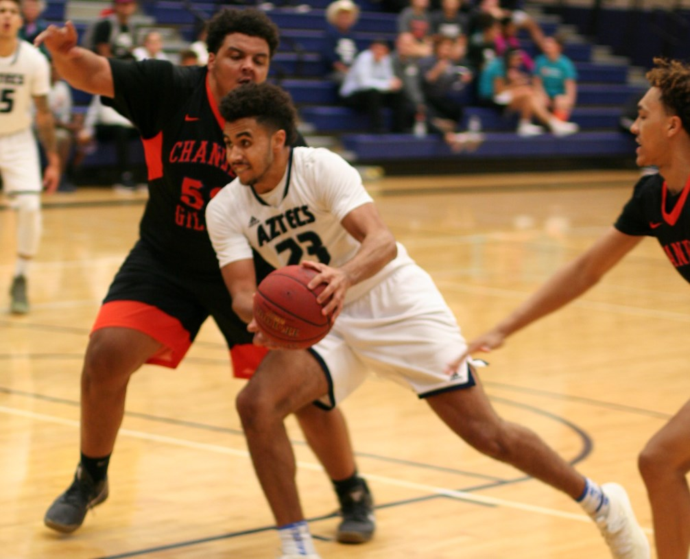 Freshman Jeremiah Bailey had a double-double of 11 points and 10 rebounds as the Aztecs men's basketball team beat Glendale Community College 113-91. The Aztecs improved to 6-1 overall and 3-1 in ACCAC conference play. Photo by Stephanie Van Latum.