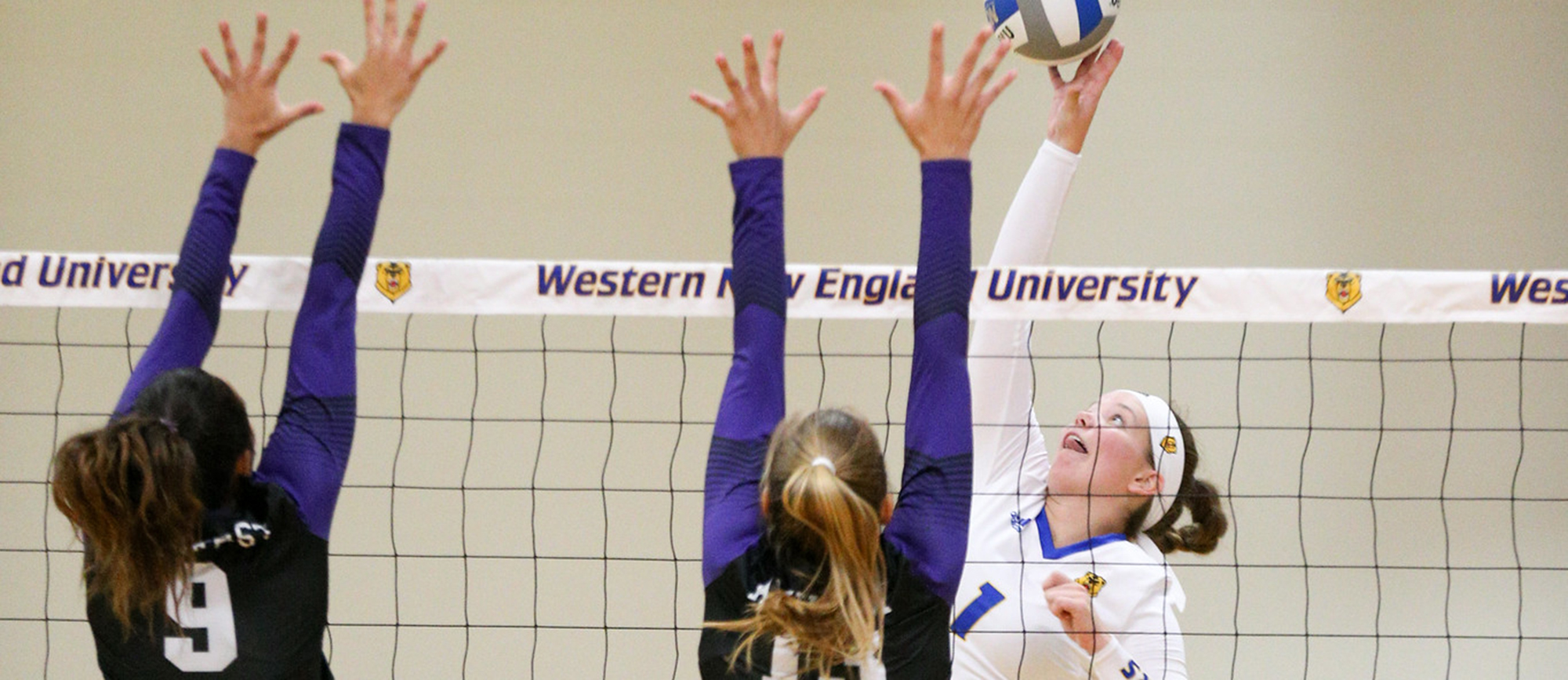 Hailey McDonnell recorded 21 kills on Saturday as Western New England split matches with Norwich and Suffolk. (Photo by Chris Marion)