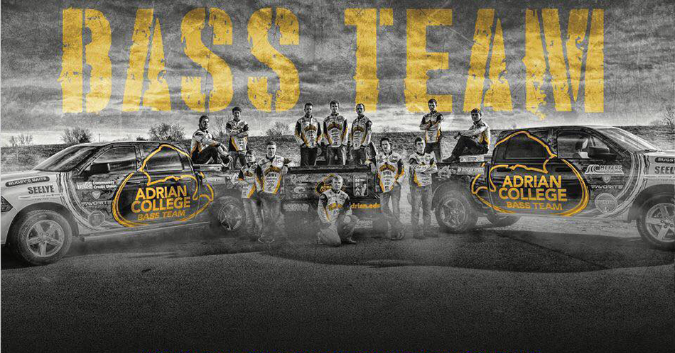 2018 Adrian College Bass Fishing team. (Graphic by Christina Butler)