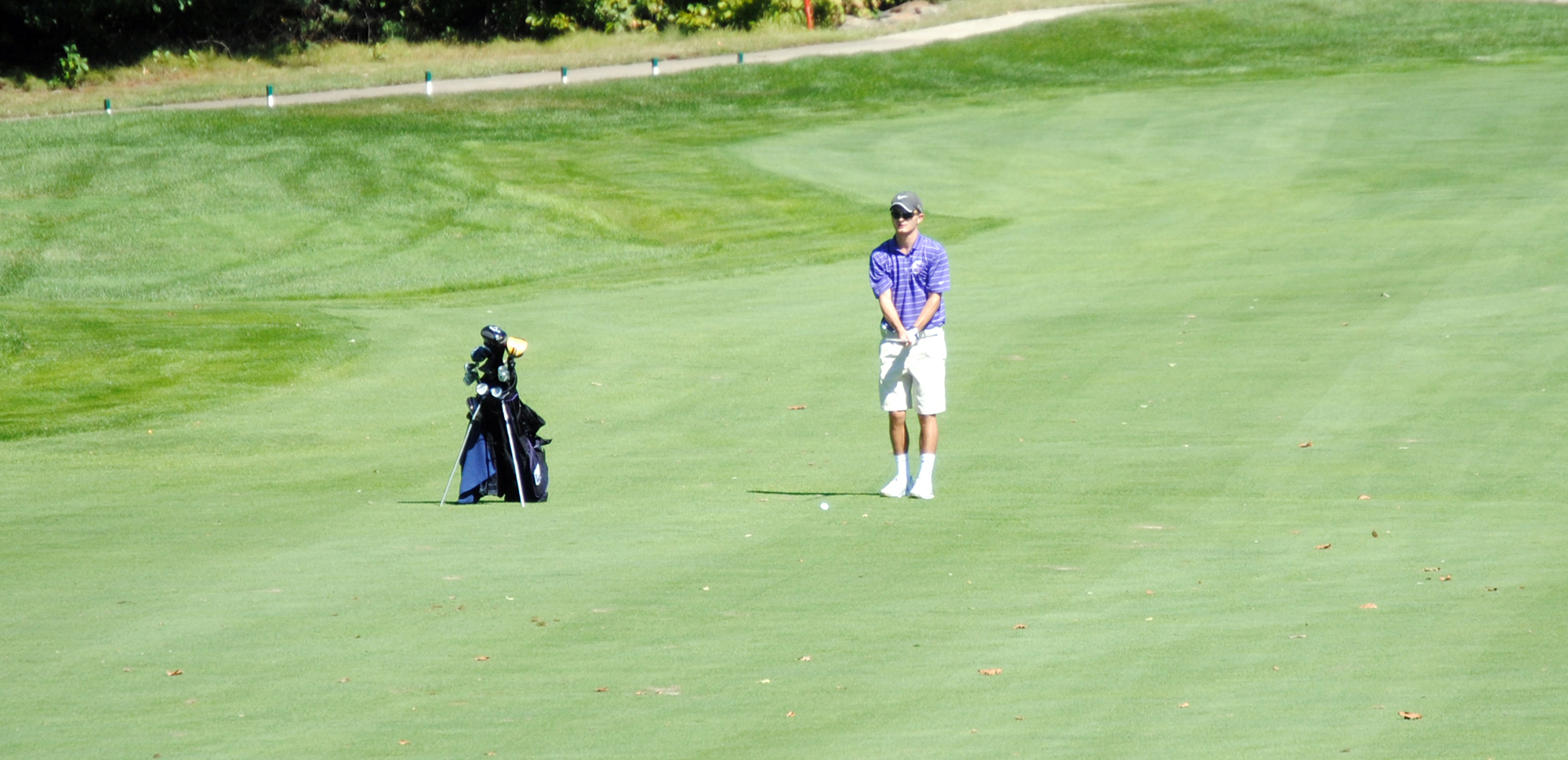 Senior Tyler Huggins shot 78 on Tuesday to help the Royals defeat Marywood and Wilkes.