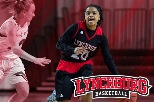 Cierra Brown dribbles around a defender with background red tint effect on image. Logo: Lynchburg basketball.