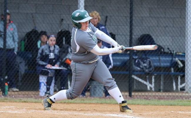 Mickenzie Palmer (17) had the only two hits in the game for Keuka College