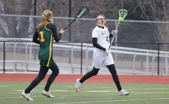 Junior Jennifer Burt scored four goals with an assist as the Keuka College women's lacrosse team rallied for a 9-5 win over Hartwick College Wednesday afternoon (photo courtesy of Carly Volante, Keuka College Sports Information Department).