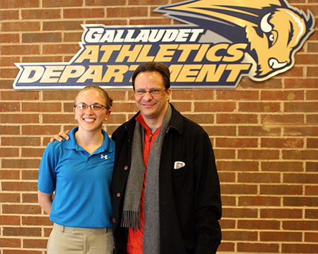 Indiana head coach Tom Crean with GU women's basketball head coach Stephanie Stevens