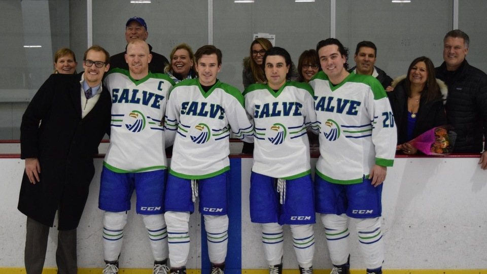Adam Augusta (Windham, N.H.), Pat Thompson, Joseph Yeadon (Burlington, Mass.), and Brandon Yee (Franklin, Mass.) comprise the Seahawks class of 2018 and were all joined by family on the ice pre-game for a special ceremony (Photo by Andrew Pezzelli)