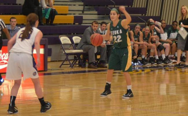 Junior Mackenzie Cole scored 12 points in Friday night's 54-47 loss to Lancaster Bible College.