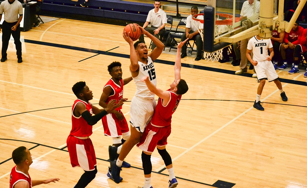 Sophomore Deion James secured his 14th double-double of the season with 29 points and 12 rebounds in Pima's 121-92 win over South Mountain Community College. The Aztecs improved to 16-8 overall and 10-6 in ACCAC conference play. Photo by Ben Carbajal