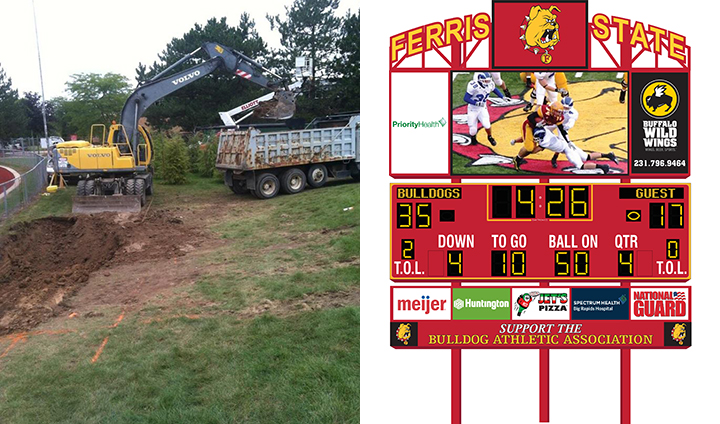 Preparations Being Made For Installation Of New Football Video Scoreboard & Sound System