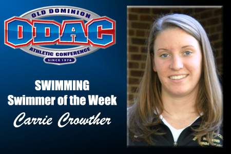 Crowther Earns ODAC Swimmer of the Week Honor