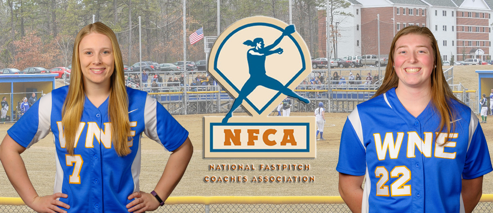 Senior Gabby Lavinio (left) and freshman Aimee Kistner (right) earned All-New England third team honors from the NFCA.