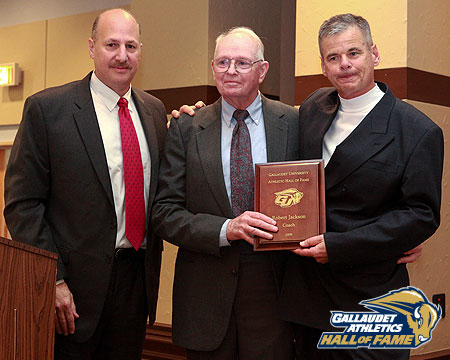Coach Jackson with Rob Cundy and Mike Weinstock at GU Hall of Fame Induction Ceremony.
