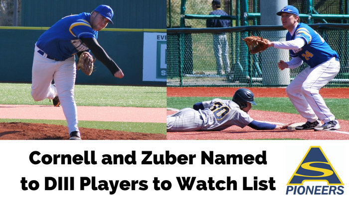 Lucas Cornell and David Zuber have been named to DIII Players to Watch list by Collegiate Baseball Magazine