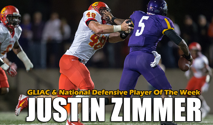 Ferris State's Justin Zimmer Named National & GLIAC Defensive Player Of The Week