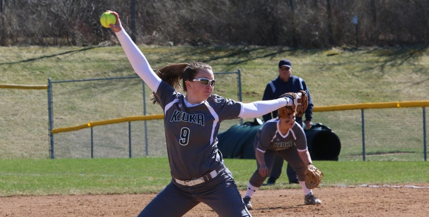 Colleen Mooney (9) threw a no-hitter against Houghton College