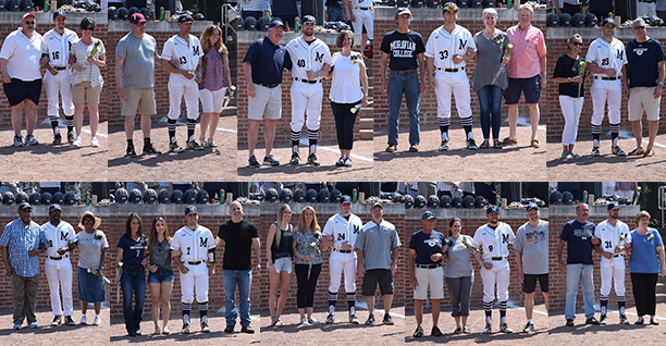 The Greyhounds honored their 2018 seniors before a Landmark Conference doubleheader with Drew University at Gillespie Field.