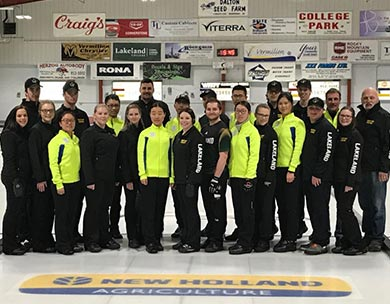 Shanghai University of International Business and Economics curling team with the Lakeland College Rustlers