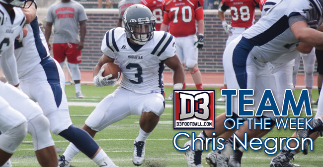 Negron Earns Spot on D3football.com Team of the Week Presented by Scoutware