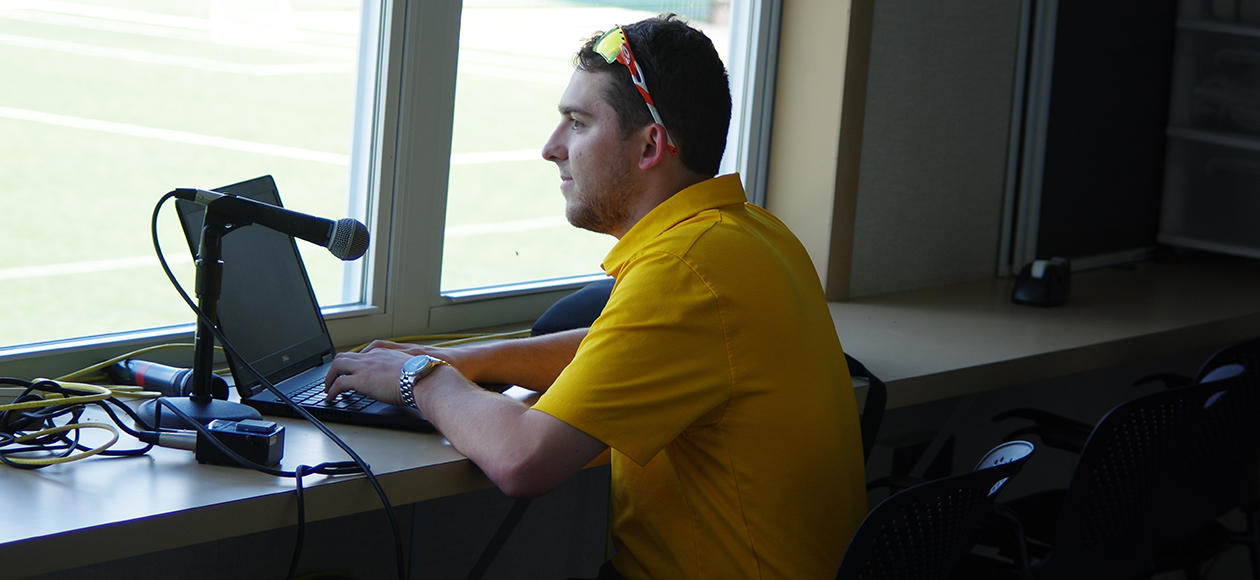 Ryan Small in the Millersville University press box.