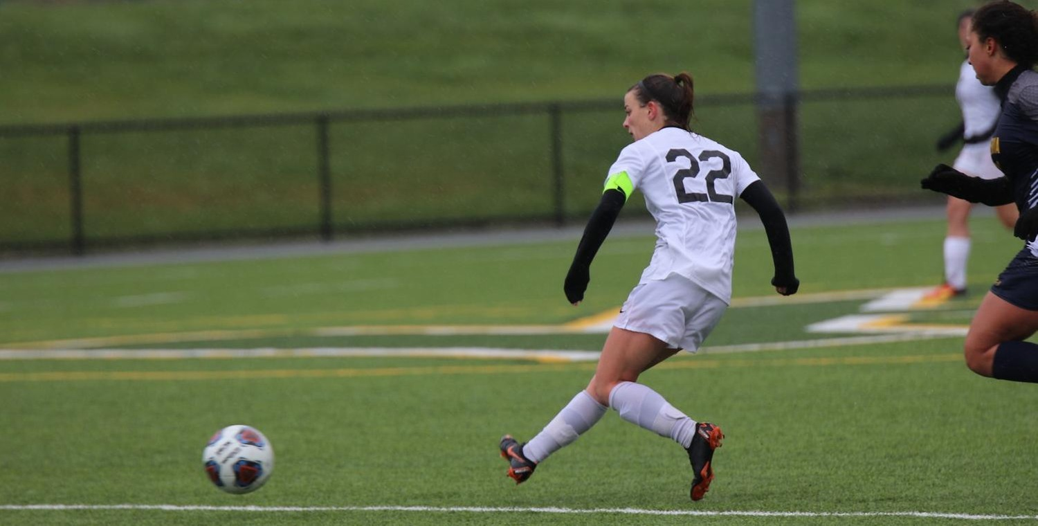 Emily McGuigan (22) scored a pair of goals for Keuka on Saturday -- Photo by Chey Bennett